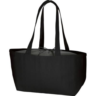 キャンバス保冷バッグ 船底巾着付 ブラック シルク印刷